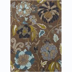 Hand-Tufted Mani Brown Bold Floral-Pattern Wool Rug (5' x 7')