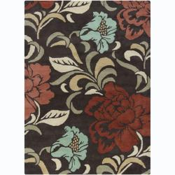 Hand-tufted Mani Brown Floral Wool Rug (5' x 7')