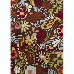 Hand-Tufted Mani Brown Floral Transitional Wool Rug (5' x 7')