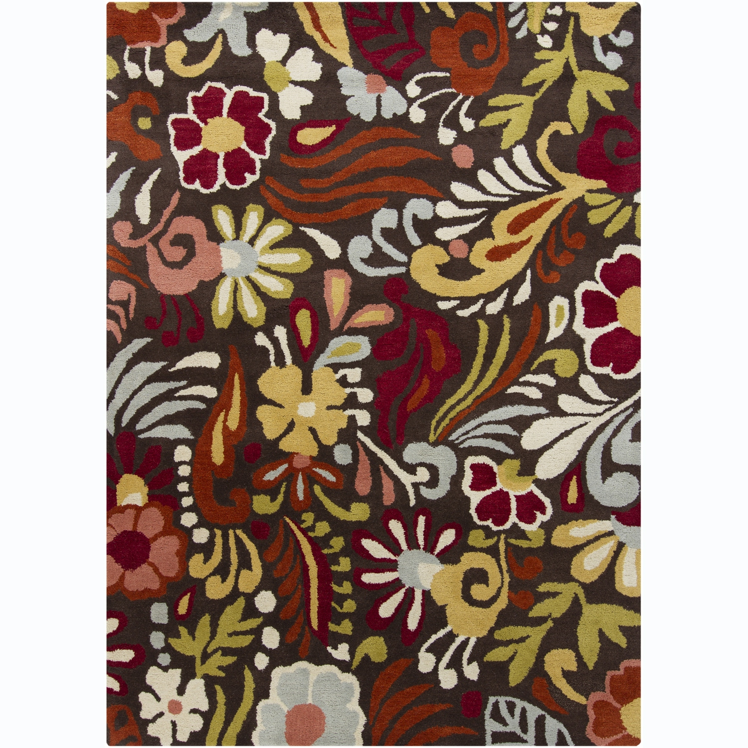 Hand-Tufted Mani Brown/Red Floral Wool Rug (7' x 10')