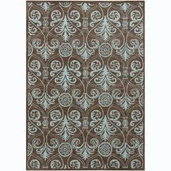 Hand-Tufted Mani Abstract Brown Wool Area Rug (5' x 7')