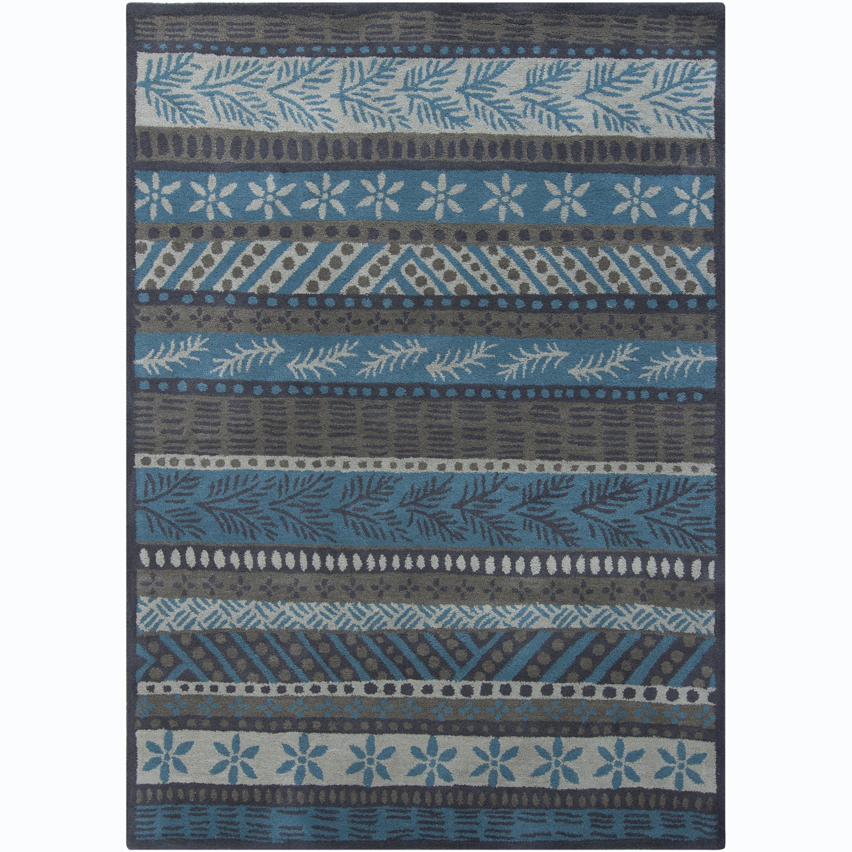 Hand-tufted Mani Floral Grey Wool Rug (5' x 7')