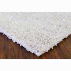 Hand-woven Safir White Shag Rug (3'6   x   5'6)
