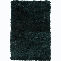 Hand-woven Safir Green Shag Rug (3' Round)