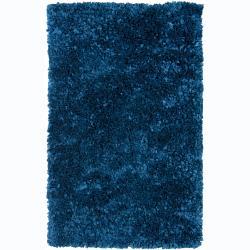 Handwoven Safir Blue Shag Area Rug (3' Round)
