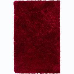 Hand-woven Safir Red Shag Rug (3' Round)