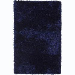 Hand-woven Safir Blue Shag Rug (3'6 x 5'6)