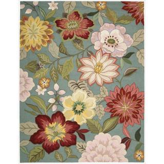 """Nourison Hand-Hooked Fantasy Blue Floral Rug (2'6"""" x 4')"""