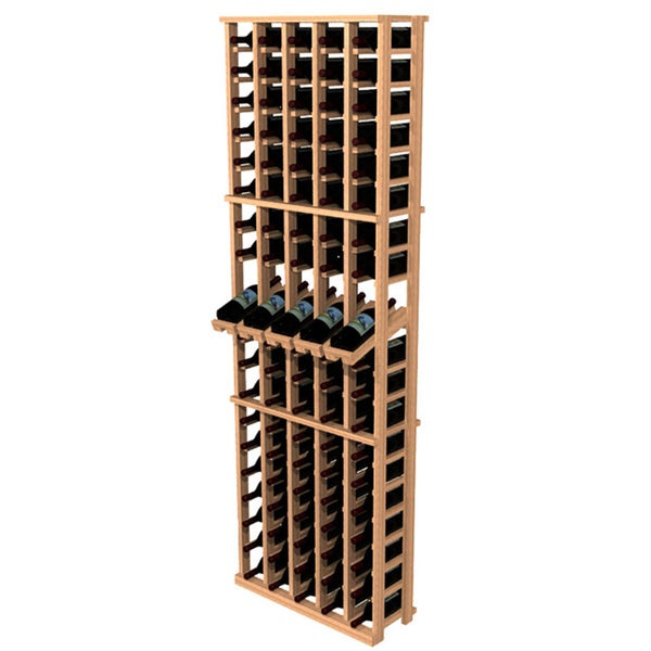 Traditional Redwood 5-Column Wine Rack with Display Row