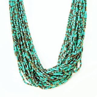 Turquoise Seed Bead Rope Necklace