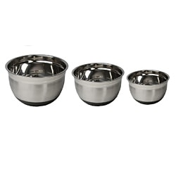 Stainless Steel Non-Skid Silicone Rubber Mixing Bowls (Set of 3)