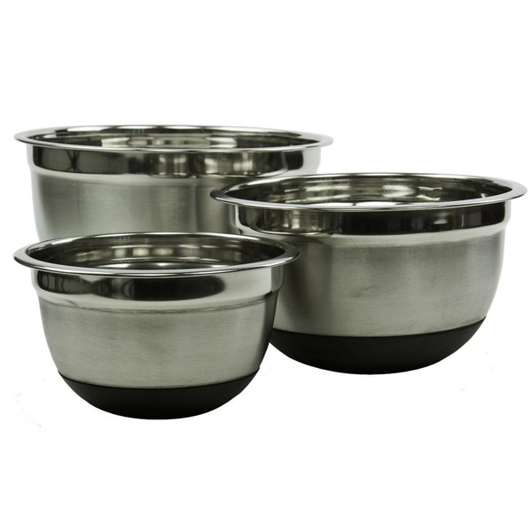 Big Stainless Restaurant Style Steel Non-skid Silicone Rubber 5, 3, and 1.5 qt. Mixing Bowls