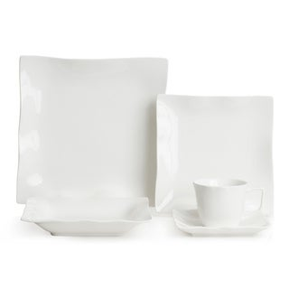 Red Vanilla Wave 20-piece White Dinner Set