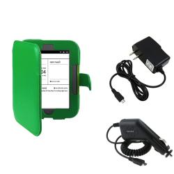 Green Leather Case/ Travel/ Car Charger for Barnes & Noble Nook 2