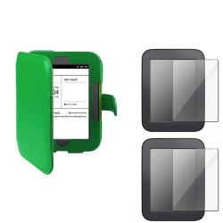 INSTEN Green Leather Phone Case Cover/ Screen Protector Bundle for Barnes & Noble Nook 2