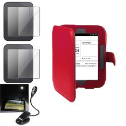 INSTEN Red Phone Case Cover/ Screen Protector/ LED Light for Barnes & Noble Nook 2