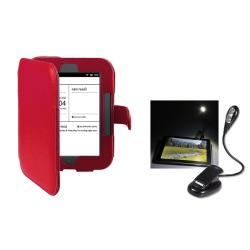 Red Leather Case/ Flexible LED Reading Light for Barnes & Noble Nook 2