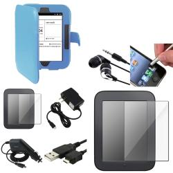 Blue Leather Case/Screen Protectors/Chargers/Accessories for Barnes & Noble Nook 2 (8-Piece Set)