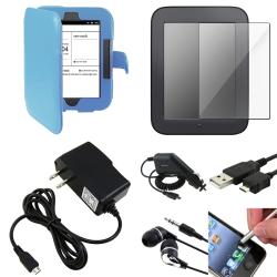 Blue Leather Case/Screen Protectors/Chargers/Accessories for Barnes & Noble Nook 2 (7-Piece Set)