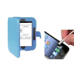Blue Leather Case/ Silver Stylus for Barnes & Noble Nook 2