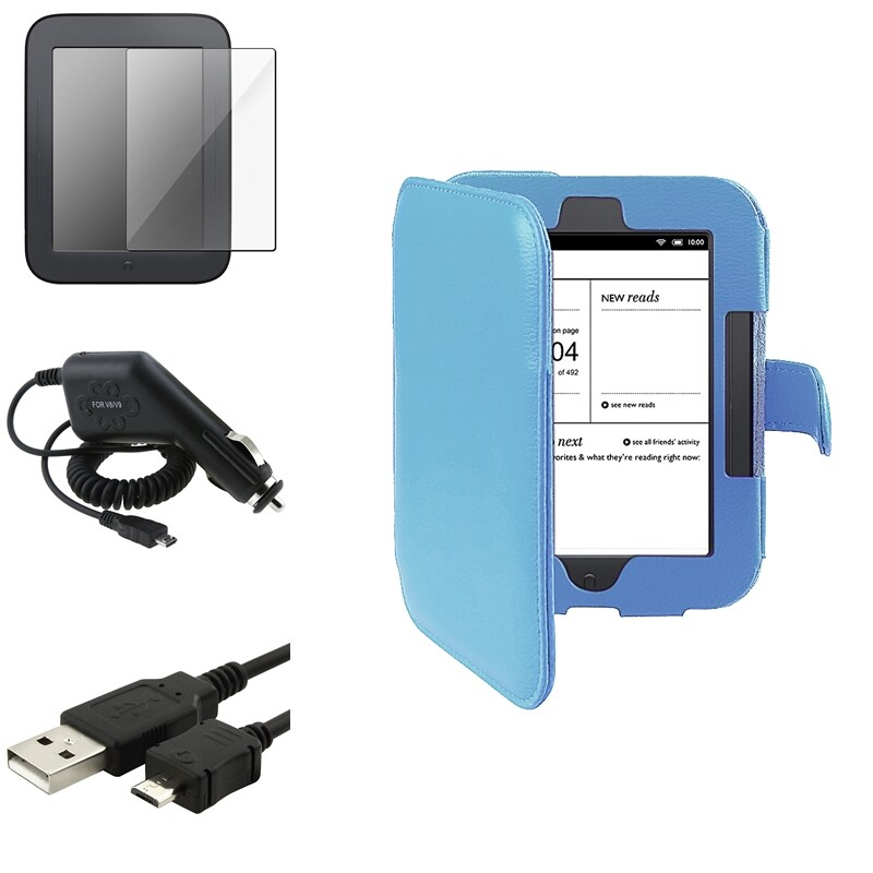 INSTEN Case Cover/ Screen Protector/ Car Charger/ Cable for Barnes & Noble Nook 2