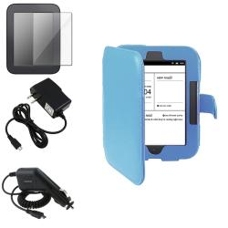 Blue Synthetic Leather Case/Screen Protector/Chargers for Barnes & Noble Nook 2