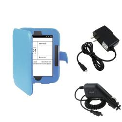 Blue Leather Case/ Travel/ Car Charger for Barnes & Noble Nook 2