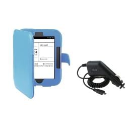 Blue Leather Case/ Car Charger for Barnes & Noble Nook 2