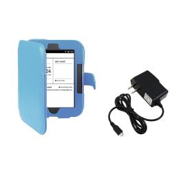 Blue Leather Case/ Travel Charger for Barnes & Noble Nook 2