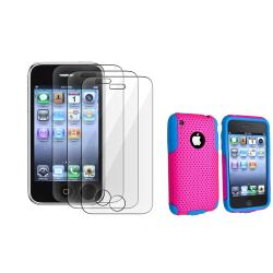 Blue/ Pink Hybrid Case/ LCD Protector for Apple iPhone 3G/ 3GS
