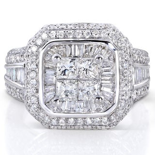 Annello 14k White Gold 2ct TDW Diamond Engagement Ring (H-I, I1-I2)