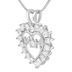 Tressa Sterling Silver CZ Mother's Day Heart Necklace