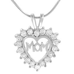 Journee Collection Sterling Silver CZ Mother's Day Heart Necklace