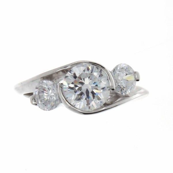Nexte Jewelry Silvertone Swirling Three-stone CZ Ring