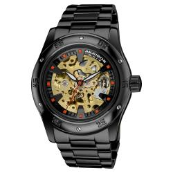 Akribos XXIV Men's Skeleton Automatic Black Bracelet Watch