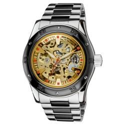 Akribos XXIV Men's Skeleton Automatic Black and Silver Bracelet Watch