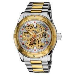 Akribos XXIV Men's Skeleton Automatic Two-tone Bracelet Watch