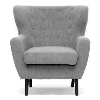 Moretti Light Grey Linen Modern Club Chair