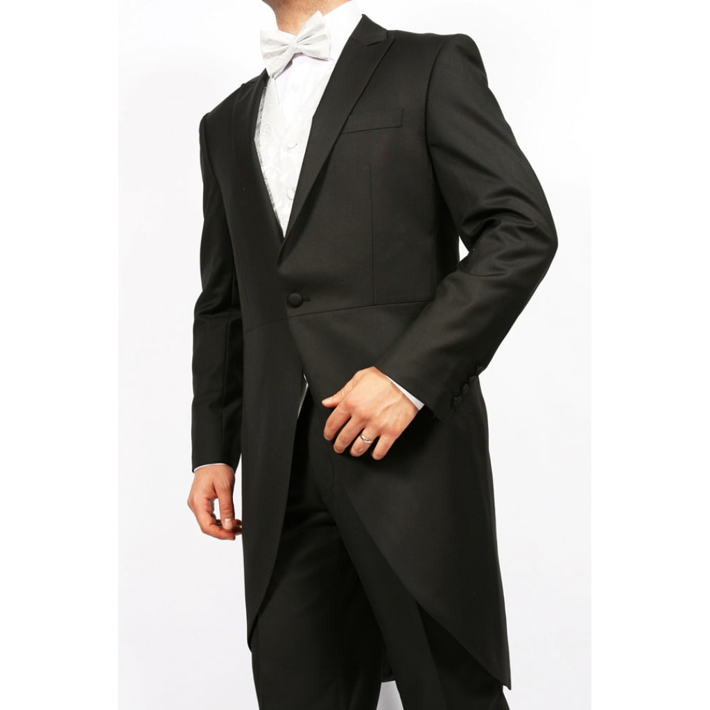 Ferrecci's Men's Black 2-piece 1-button Cutaway Tuxedo
