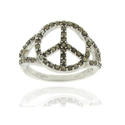 Dolce Giavonna Silverplated Marcasite Peace Symbol Ring