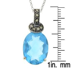 Dolce Giavonna Silver Overlay Blue Glass and Marcasite Oval Pendant