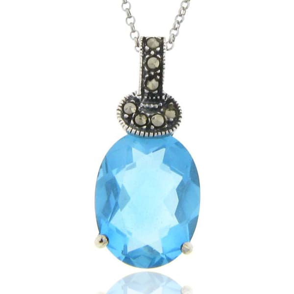 Dolce Giavonna Silverplated Blue Glass and Marcasite Oval Pendant 9276269