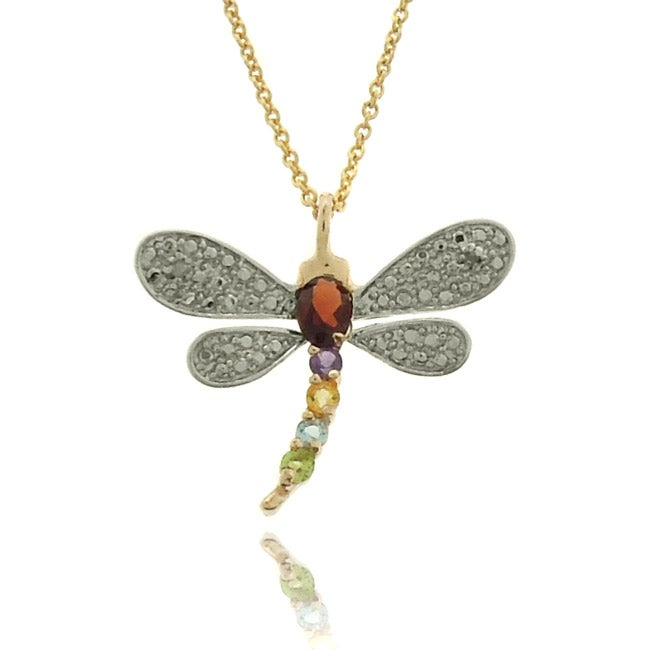 Dolce Giavonna Sterling Silver Diamond Accent Dragonfly Pendant Necklace