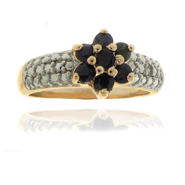 Dolce Giavonna Finesque 18k Gold Overlay Diamond Accent Sapphire Flower Ring