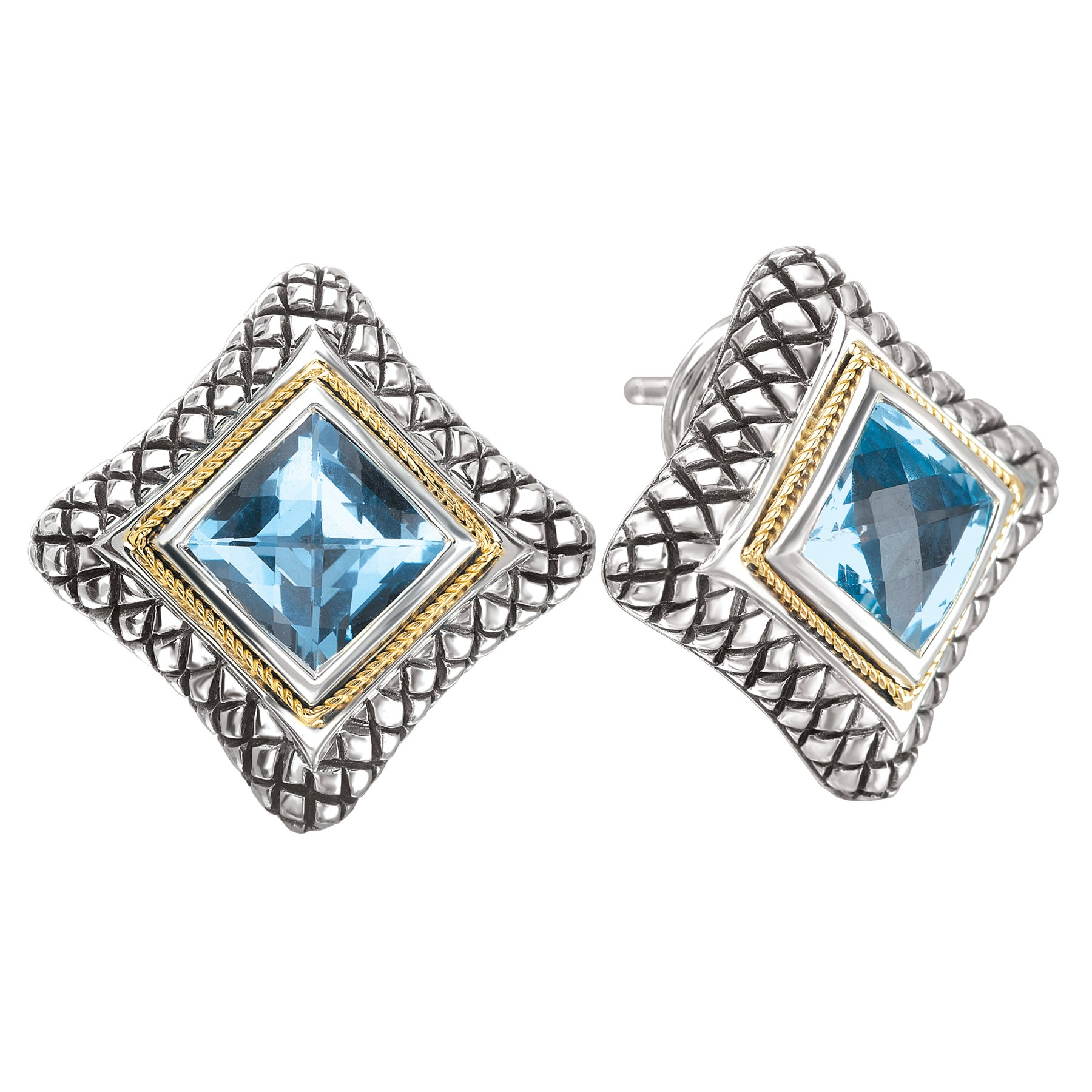 Overstock.com Sterling Silver and 18k Gold Blue Topaz Earrings