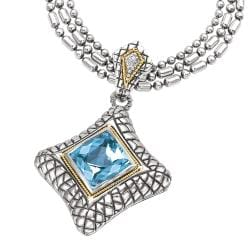Sterling Silver and 18k Gold Blue Topaz and 0.02ct TDW Diamond Necklace (H-I, I2-I3)