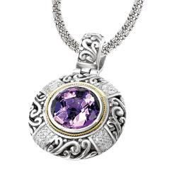 Sterling Silver and 18k Gold Amethyst and 3/10ct TDW Diamond Necklace (H-I, I2-I3)