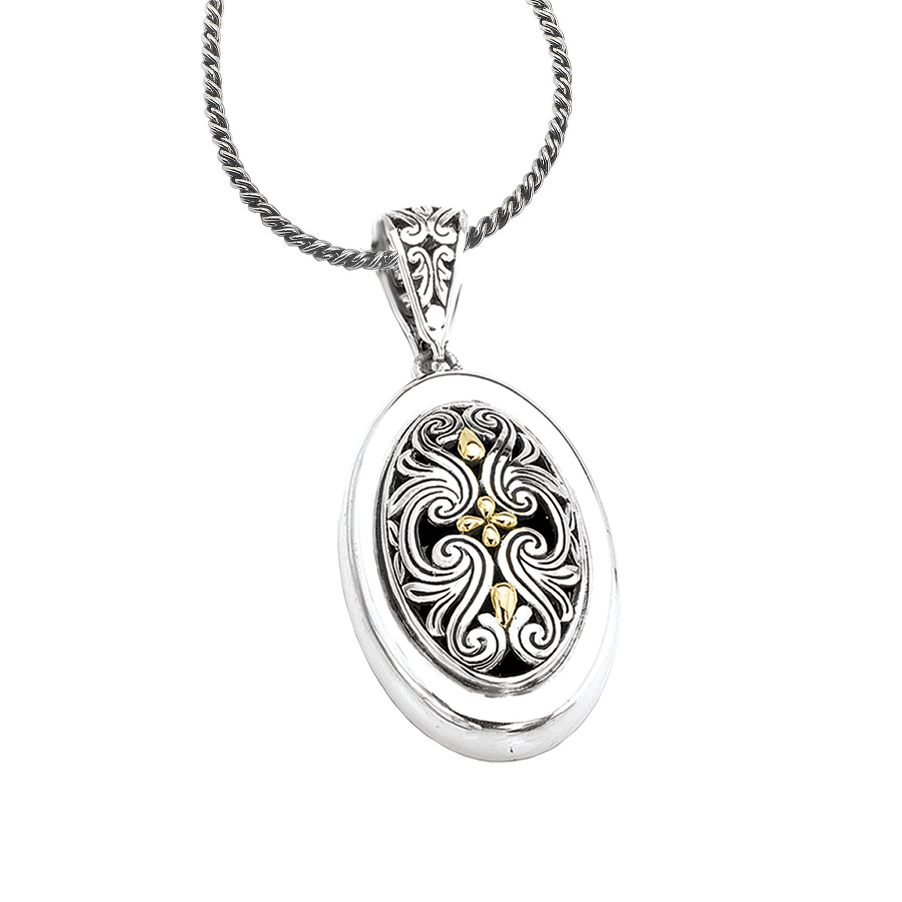 Sterling Silver and 18k Gold Oval Filigree Necklace