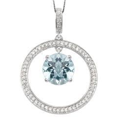 14k White Gold Round Blue Topaz and 0.24ct TDW Diamond Necklace (G-H, I1-I2)