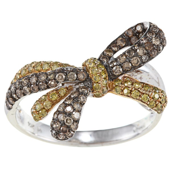 D'Yach 14k Gold 9/10ct TDW Brown and Yellow Diamond Bow Cocktail Ring